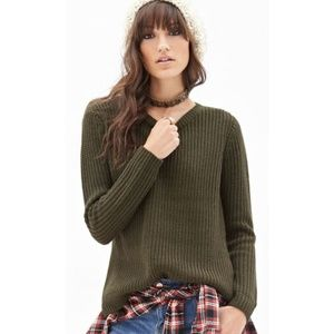 Forever 21 Chunky Olive Sweater